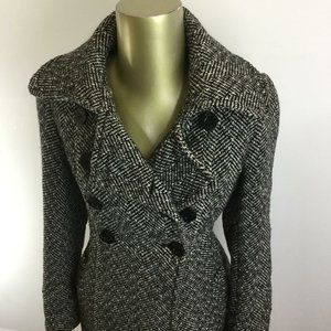 GUESS Double Breasted Wool Blend Gray Pea Coat